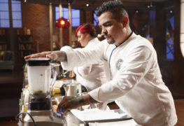 "MASTECHEF: Guest judge Aaron Sanchez in the all-new ""Top 17 Compete"" episode of MASTERCHEF airing Wednesday, June 29 (8:00-9:00 PM ET/PT) on FOX. Cr: Greg Gayne / FOX. © 2016 FOX Broadcasting Co."