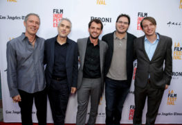 "Producer Alex Garcia, Producer Alfonso Cuaron, Director/Writer/Producer Jonas Cuaron, Producer Carlos Cuaron and Executive Producer Nicolas Celis seen at STX Entertainment's Premiere of ""Desierto"" at 2016 LA Film Festival Closing Night on Thursday, June 9, 2016, in Culver City, Calif. (Photo by Eric Charbonneau/Invision for STX Entertainment/AP Images) Photo Credit: STX Entertainment"