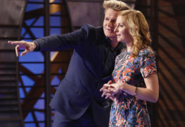 """MASTERCHEF:  L-R: Gordon Ramsay and Claudia Sandoval in the all-new """"Battle For A White Apron, Part 1"""" season premiere episode of MASTERCHEF airing Wednesday, June 1 (8:00-9:00 PM ET/PT) on FOX.  Cr: Greg Gayne.  © 2016 FOX Broadcasting Co."""
