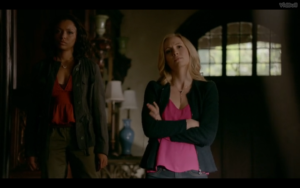 Bonnie (Kat Graham) and Caroline (Candice King), S8Ep3