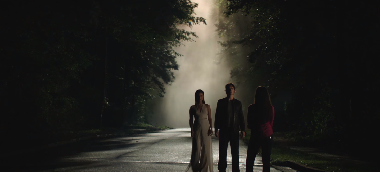 Sybil observing Damon and Elena, S8Ep2
